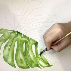 Monstera in sap green . Green Watercolor, Watercolor Flowers, Watercolor Paintings, Watercolors, Watercolour Tutorials, Watercolor Techniques, Freetime Activities, Image Zen, Leaf Art