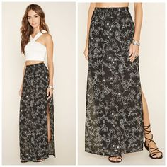 """Floral M-Slit Maxi Skirt NWOT. Priced is firm. All offers will be declined. All over floral print. M-slit. Drawstring elasticized waist. 100% polyester. Waist is approx 30"""" not stretched. Length is approx 41"""". ❌NO TRADES❌ Forever 21 Skirts Maxi"""