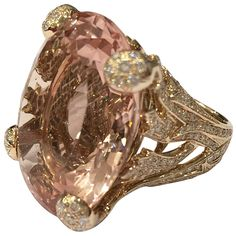 Christian Dior Beautiful Miss DIOR Morganite Diamond Gold Ring | From a unique collection of vintage fashion rings at https://www.1stdibs.com/jewelry/rings/fashion-rings/