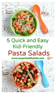 5 Quick and Easy Kid-Friendly Pasta Salads. Pasta salads that are delicious, healthy, and for the whole family! Pasta Salad For Kids, Kids Pasta, Salads For Kids, Easy Pasta Salad, Healthy Meals For Kids, Healthy Foods To Eat, Kids Meals, Healthy Recipes, Toddler Dinners