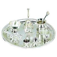 Silver Puja Thali for Hindu Temple Rituals Set of 9 Shiva... http://www.amazon.com/dp/B002PWVBDQ/ref=cm_sw_r_pi_dp_7ZDpxb122TQEM