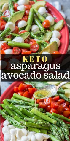 This Keto Asparagus, Tomato and Avocado Salad is drizzled in a creamy lemon vinaigrette! The perfect low carb summer salad! Under 4 net carbs per& The post Keto Asparagus Avocado Salad appeared first on Griffith Diet and Fitness. Ketogenic Diet Meal Plan, Diet Plan Menu, Diet Meal Plans, Ketogenic Recipes, Paleo Recipes, Low Carb Recipes, Dessert Recipes, Recipes Dinner, Food Plan