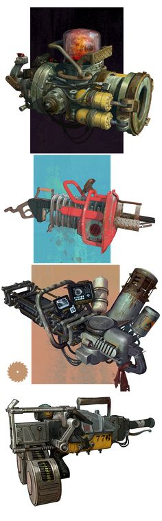 Steampunky fallout like Junker Guns by Ted Beargeon, via Behance: Steampunk Weapons, Sci Fi Weapons, Weapon Concept Art, Weapons Guns, Fantasy Weapons, Fallout Weapons, Game Concept, Games Design, Prop Design