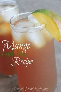 Iced Tea Recipe This mango iced tea recipe is so perfectly refreshing on a hot day!This mango iced tea recipe is so perfectly refreshing on a hot day! Refreshing Drinks, Summer Drinks, Fun Drinks, Healthy Drinks, Cold Drinks, Mango Drinks, Healthy Food, Mixed Drinks, Iced Tea Recipes