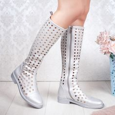 Cizme dama de vara perforate argintii Ralesia Rubber Rain Boots, Combat Boots, Casual, Shoes, Fashion, Babydoll Sheep, Color, Moda, Zapatos