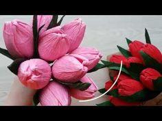 Мастер-класс Тюльпан из гофрированной бумаги с конфетой внутри - YouTube