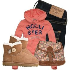 A fashion look from March 2013 featuring Hollister Co. sweatshirts, Hollister Co. jeans and UGG Australia ankle booties. Browse and shop related looks.