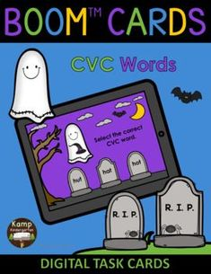 Engaging Digital Task Cards for Your Little Learners from Kamp Kindergarten! This paperless Halloween themed phonics resource is great for use in the classroom or for distance learning situations! $ #TeachersCreateTomorrow #Halloween #Ghosts #October #phonics #CVCwords #kindergarten #digitaltaskcards #digitallearning #paperlessclassroom #KindergartenPhonics #HalloweenPhonicsActivities #kindergartenliteracy #KampKindergarten #BOOMcards #TeachersPayTeachers #DistanceLearningTpT #ELA…