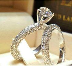 Certified 3.12CT Round Diamond Full Eternity Engagement Bridal Ring Set 14K Gold