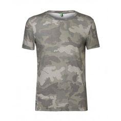T-shirt maniche corte, girocollo, in misto cotone, stampata a fantasia. 3FQ9J1382 verde