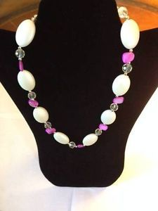 Lovely Fashion Necklace with White Oval Stones Accented w/ Pink Charms