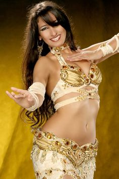 Ju Marconato, brazilian belly dancer with Beatiful gold costume