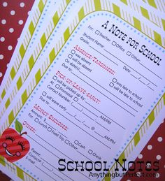 back to school printable - school note