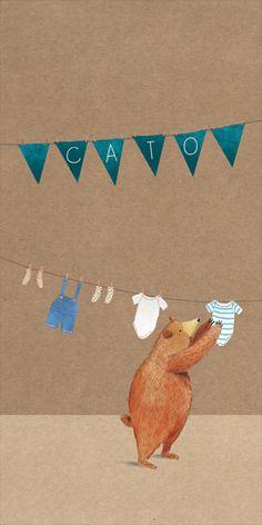 Lief #langwerpig #geboortekaartje voor zowel meisje als jongen met #beer en vlaggetjes.