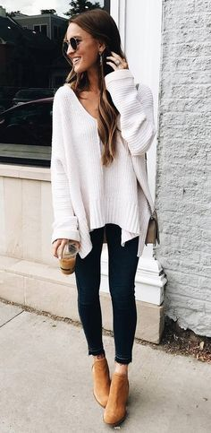 winter ootd   white oversized sweater + bag + skinny jeans + boots
