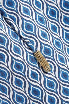 Paloma Blue - Venice Printed Silk-satin Pants - Bright blue -