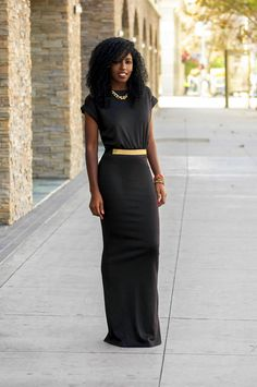 Black T-Shirt Maxi Dress (this dress has a slit in the back)