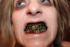 Rotten DIY zombie teeth for Halloween, just use charcoal powder, & the green or brown food coloring & paint it on your teeth, keep it in your pocket so you can take it out & dab it on there every once in awhile.