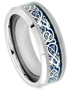 8mm Tungsten Carbide Men Women Wedding Band Ring w/ Blue Celtic Dragon Inlay | Jewelry & Watches, Fashion Jewelry, Rings | eBay!