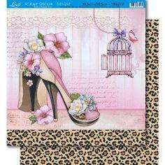 Página para Scrapbook Dupla Face Litoarte 30,5 x 30,5 cm - Modelo SD-374 Rosas Vermelhas/Estofado Preto - CasaDaArte