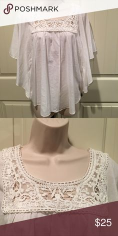 Cool white summer blouse 100% cotton White blouse with lace around the neckline . Very cool for the summer!! Brand-new with tags's Dress Barn Tops Blouses
