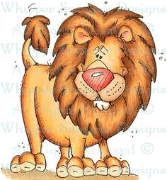 Larry the Lion - Zoo - Animals - Rubber Stamps