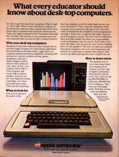 The Apple II was one of the first computer with a color display, and it has the BASIC programming language built-in, so it is ready-to-run right out of the box. The Apple II was probably the first user-friendly system. Apple Advertising, Retro Advertising, Vintage Advertisements, Vintage Ads, Product Advertising, Retro Ads, Creative Advertising, Radios, Alter Computer