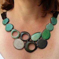 Green and Grey Sliced Tagua Nut Beaded Necklace