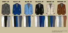 What kind of pants does a grey sport coat work with ?? Use this chart to help