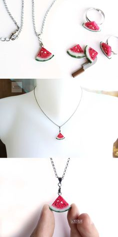 Bright red juicy watermelon necklace to quench this hot summer! Charm Necklaces, Real fruit jewelry handmade in polymer clay by LA NOSTALGIE #TriangleNecklace #SimpleNecklace #FruitFashion