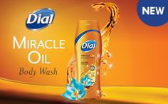 """New Dial® Miracle Oil Body Wash is infused with caring Marula oil for beautifully, soft skin. This new body wash is formulated with Micro Oil Technology for a luxurious, clean-rinsing lathe..."