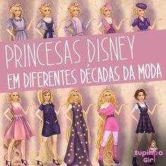 Ilustrações das Princesas Disney com roupas de diferentes décadas da moda. Bora ler!
