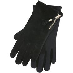 M&Co Tassel Zip Suede Gloves (640 INR) ❤ liked on Polyvore featuring accessories, gloves, black, stretch gloves, suede gloves, zipper gloves, suede leather gloves and palm gloves