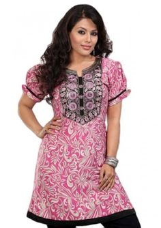 ❥❥.....Get this beautiful pink colored zari work floral crepe #kurti for the summer .......❥❥