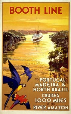 To Portugal, Madeira & North Brazil - Cruises 1000 miles up the River Amazon - Booth Line - 1930s