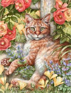 Tabby In The Roses by Debbie Cook Flag Garden Size CDCO0027GF