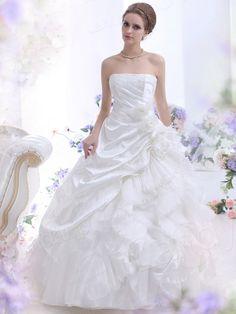 プリンセスライン ビスチェ チャーペルトレーン タフタ アイボリー ウェディングドレス B12156