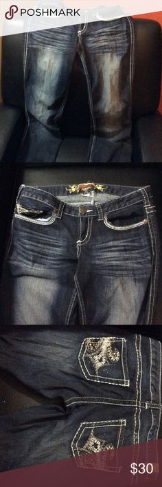 Maurice's GUC jeans size 5/6 Long GUC! Missing a couple of the smaller rhinestones on the back. 5/6 long Maurices Jeans Boot Cut