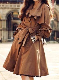 Khaki Lapel Long Sleeve Ruffles Trench Coat