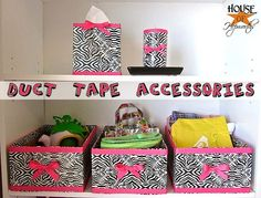 How to make accessories out of Duct Tape - storage boxes, tissue boxes, candles.  Tutorial @ House of Hepworths crafty