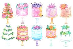 Watercolor cake set - Illustrations