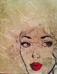 Sharpie drawing over a newspaper collage