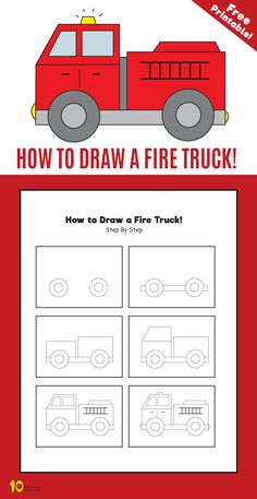 How to Draw a Fire Truck step by step for kids