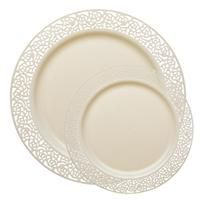 Lace Ivory Plastic Dinnerware Value Pack 120+120 for $79.99  sc 1 st  Pinterest : cheap plastic plates for weddings - pezcame.com