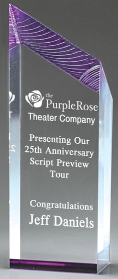 Our Purple Glacier Tower Acrylic Award features purple highlights at the top & bottom of the award with a clear area for personalization. The is is & is in size, all of which include free engraving! Acrylic Trophy, Acrylic Awards, Purple Mirror, Purple Highlights, Laser Engraving, Clear Acrylic, Congratulations, Tower, How To Plan