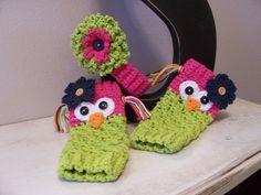 Crochet Owl Leg Warmers/Leggings W/Matching Headband-Hot Green/Hot Pink. $25.00, via Etsy.