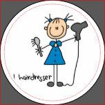 Customizable stick figure Hairdresser sticker that you can add a name to!