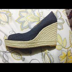 Coach shoes Beautiful blue jean coach wedges. Worn twice very comfortable Coach Shoes