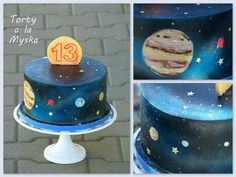 solar system, outer space cake