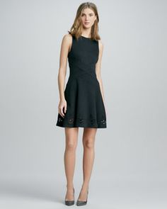 Embroidered-Hem Flare Dress by Ali Ro at Neiman Marcus.